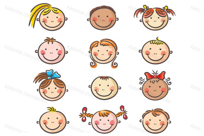 Set of happy kids. Emotions clipart cartoon face