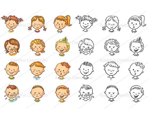 Emotions clipart cartoon face. Kids set vector illustrations