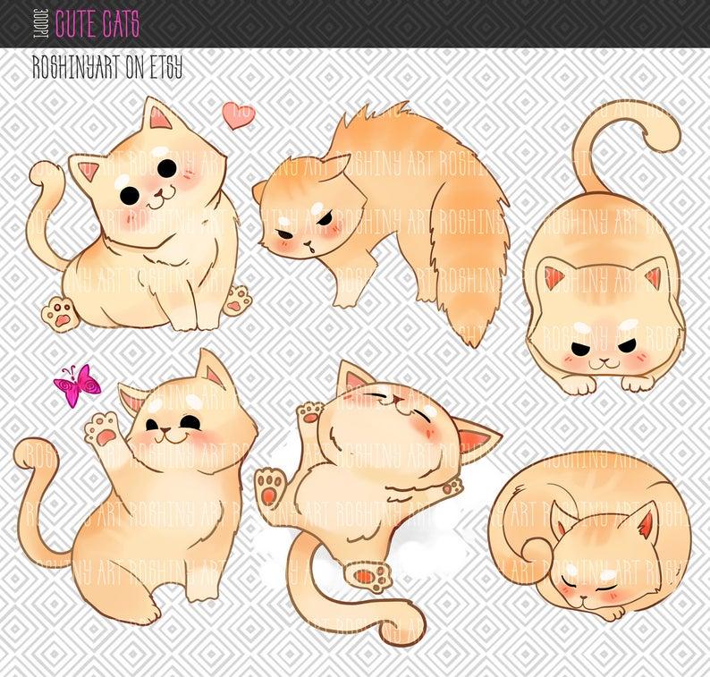 Cute cats clip art. Kittens clipart 6 cat