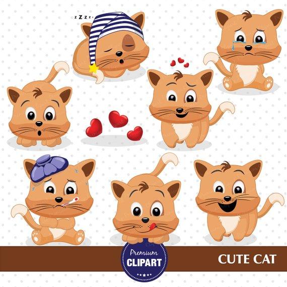 Kitty cute kitten . Emotions clipart cat