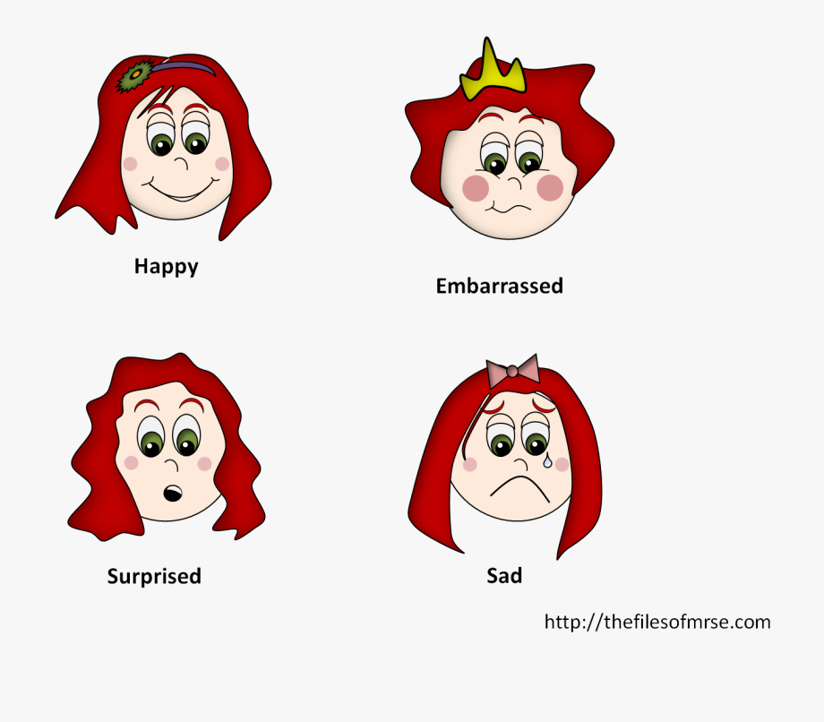 Girls cards emotions face. Excited clipart happy feeling