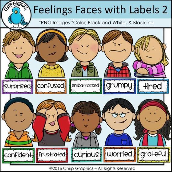 Kids feelings faces clip. Emotions clipart confident
