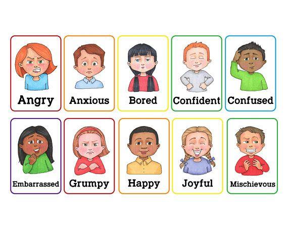 Emotions clipart confident. Clip art cards autism