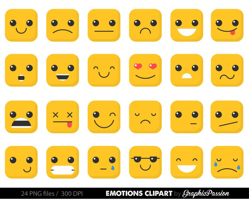 Emotion feelings faces collage. Emotions clipart emoji