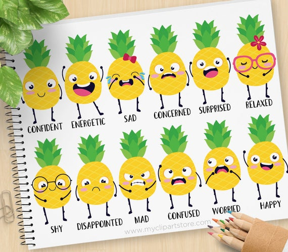 Pineapple words tropical fruit. Emotions clipart emoji