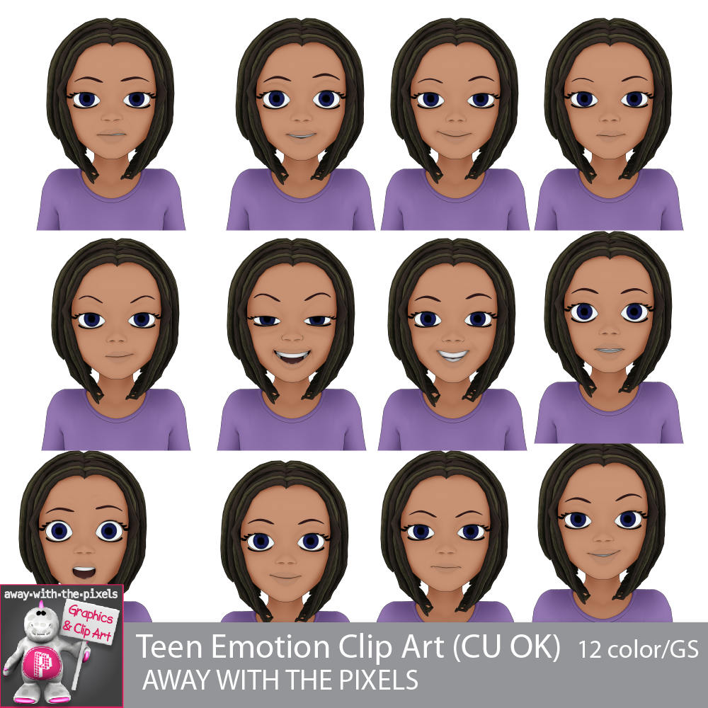 Teen girl for secondary. Emotions clipart emtions