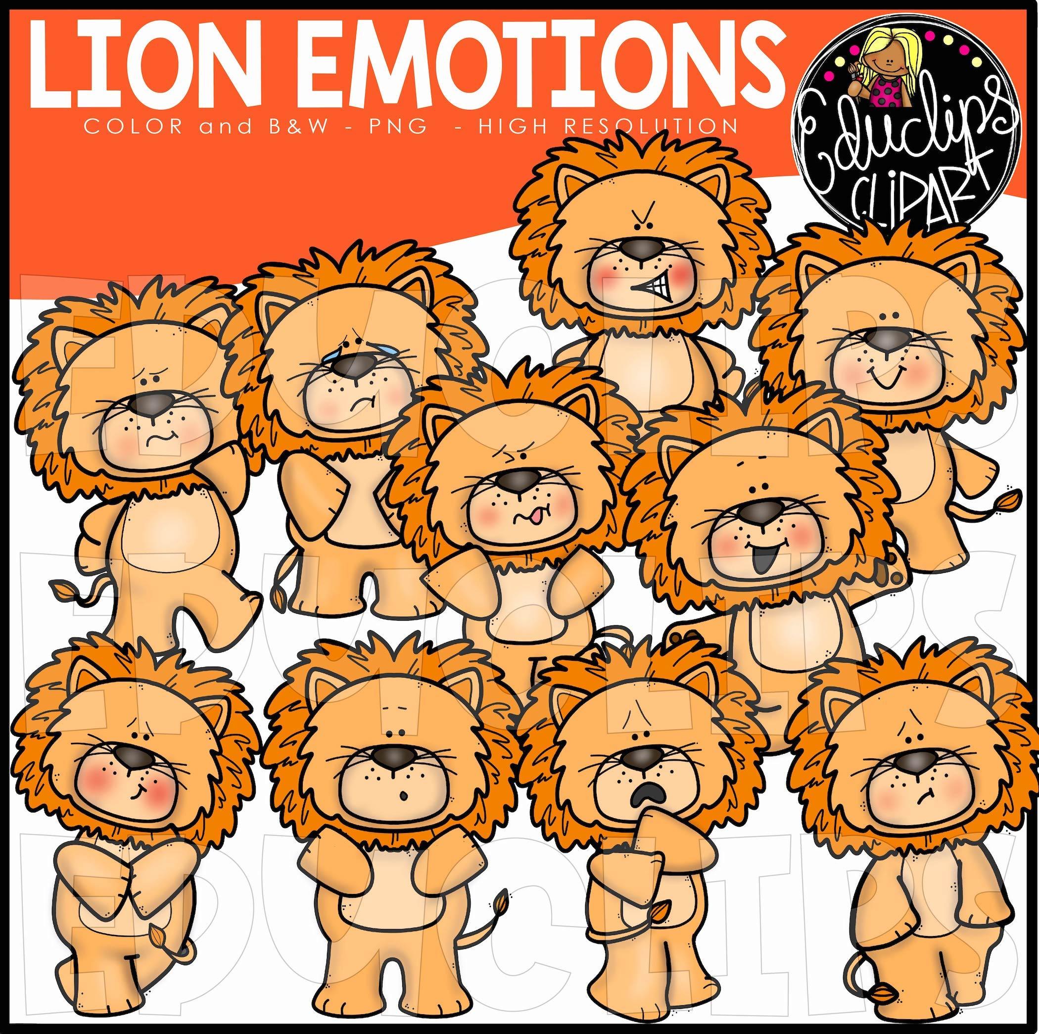 Emotions clipart emtions. Lions farm animal clip