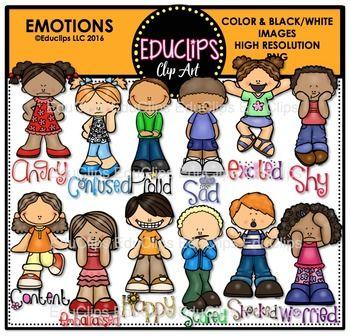 Proud clipart different emotion. Emotions clip art bundle