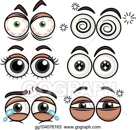 Vector six set of. Emotions clipart eye