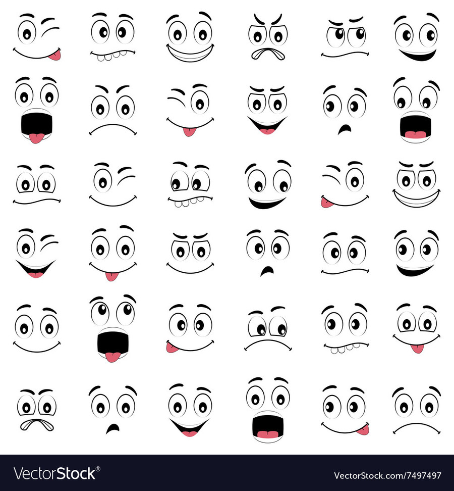 Download cartoon faces royalty. Emotions clipart face drawing