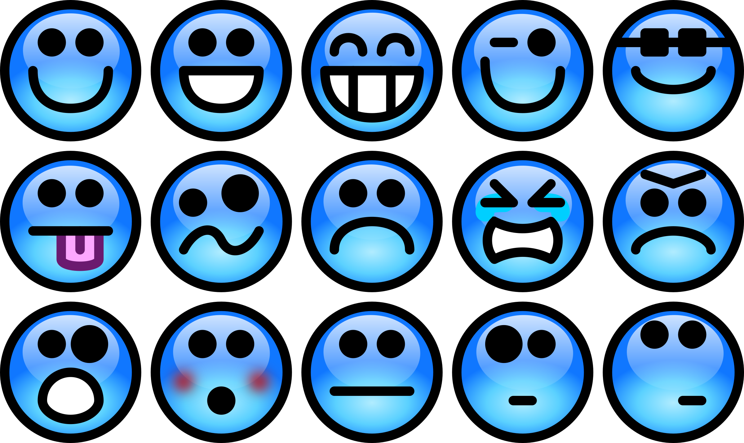 Glossy smiley set big. Feelings clipart transparent