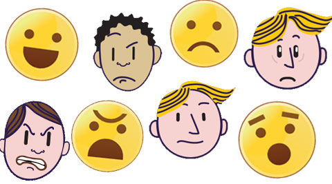 Humans display not six. Emotions clipart four basic