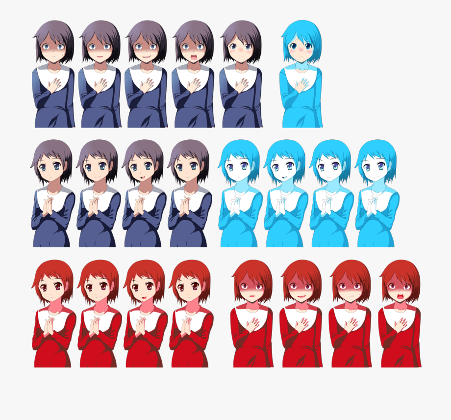 Corpse party yuka sprites. Emotions clipart happy group