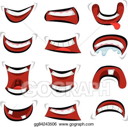Emotions clipart mouth. Vector illustration comic set