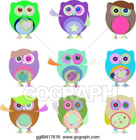 Emotions clipart nine. Stock illustration set of