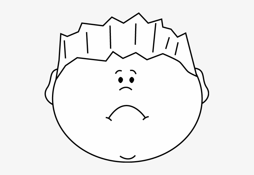 Black and white face. Emotions clipart sad guy