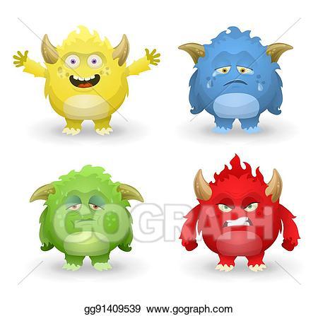 Vector cute monster set. Emotions clipart sick