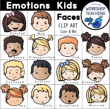 Emotions clipart teacher workshop. Kids faces clip art