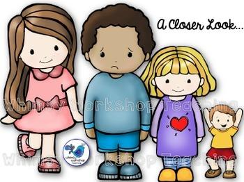 Kids clip art set. Emotions clipart teacher workshop