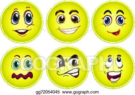 Clip art vector set. Emotions clipart yellow face