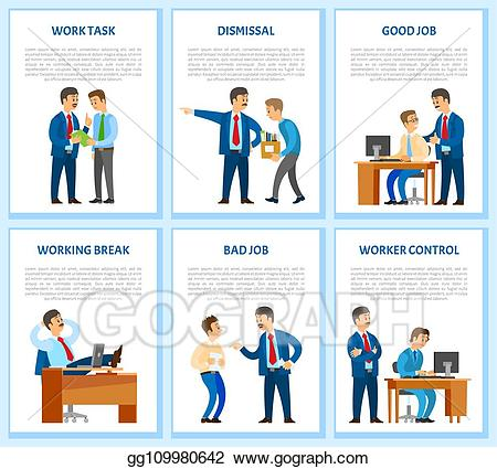 Vector work task and. Employee clipart computer worker