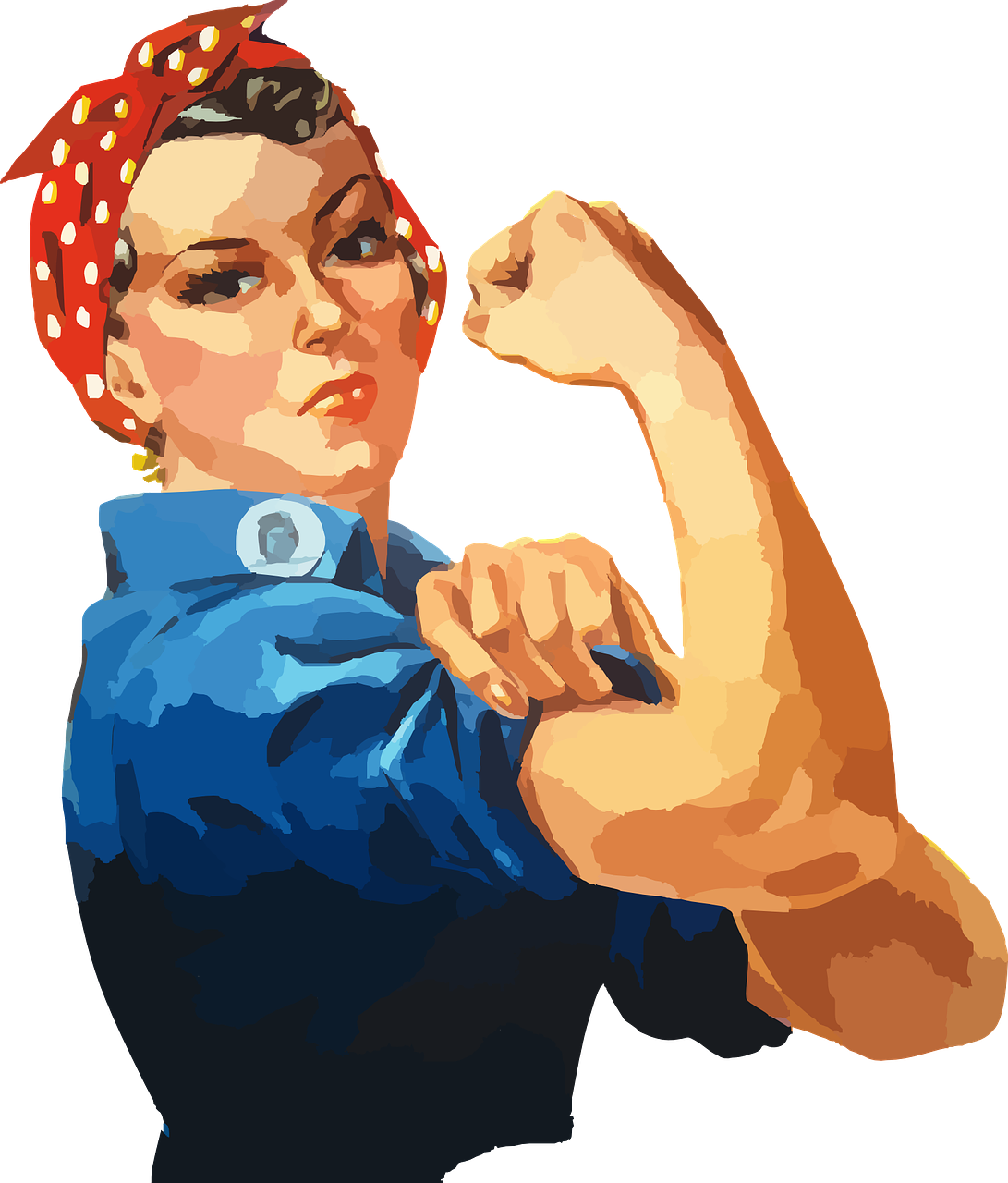 Employer union benefits program. Lady clipart confident