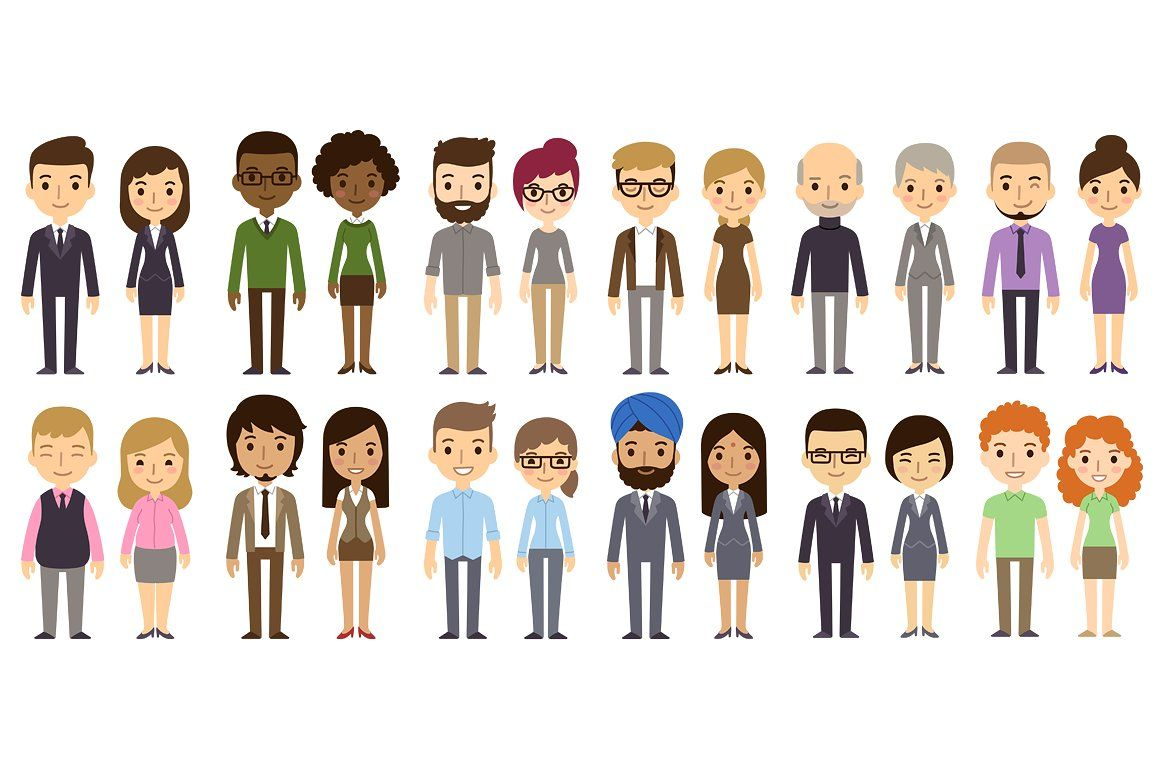 Vector businesspeople characters business. Employee clipart diverse