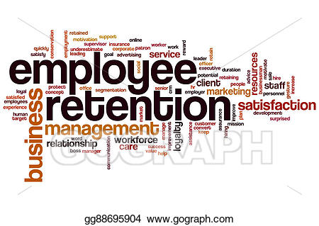 Word cloud stock illustration. Employee clipart employee retention