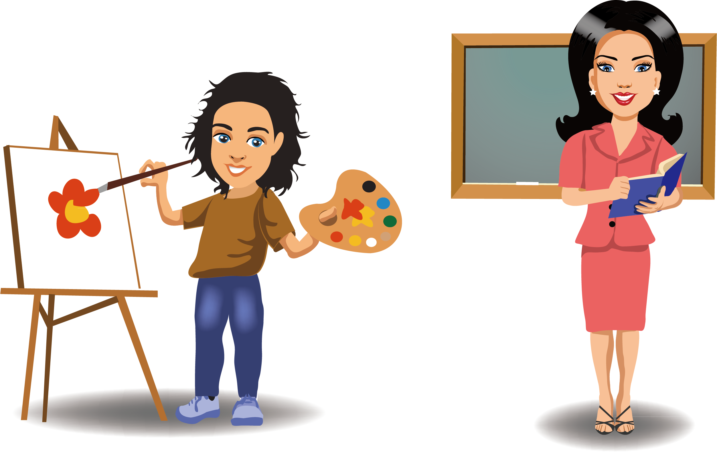 Employee clipart female employee. Cartoon painting painter excellent