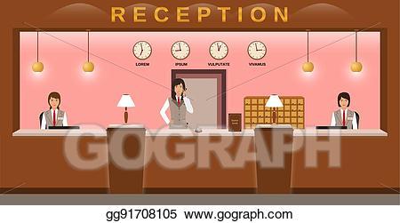 Employee clipart guest. Vector art hotel reception