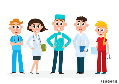 Employee clipart hospital employee. Set of doctors nurse