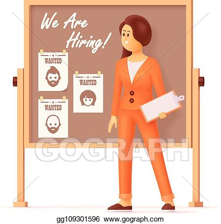 Eps illustration showing vacancies. Employee clipart hr manager