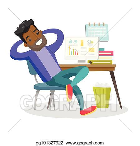 Vector stock young african. Employee clipart relaxed