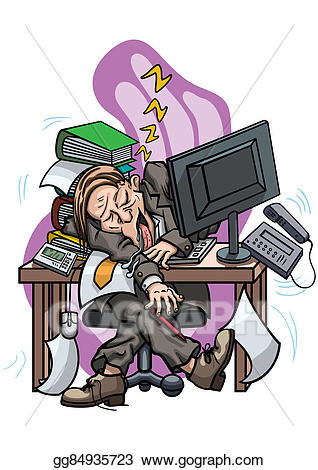 Stock illustration exhausted sleeping. Employee clipart tired