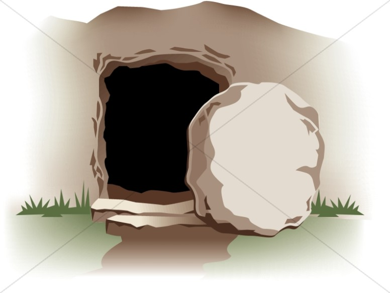Empty tomb with easter. Jesus clipart stone