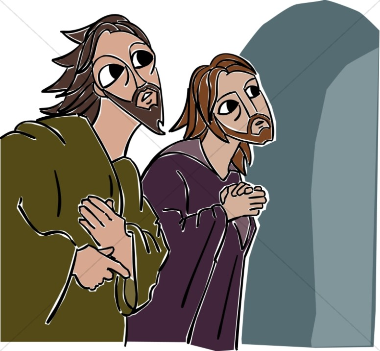 John and peter observe. Empty tomb clipart animated