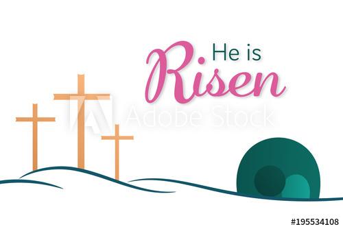 Easter background three crosses. Empty tomb clipart catholic