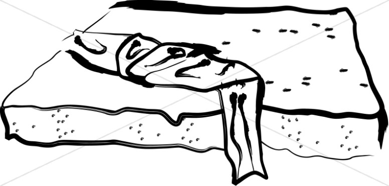 Empty tomb clipart folded cloth. Linen laying upon rock