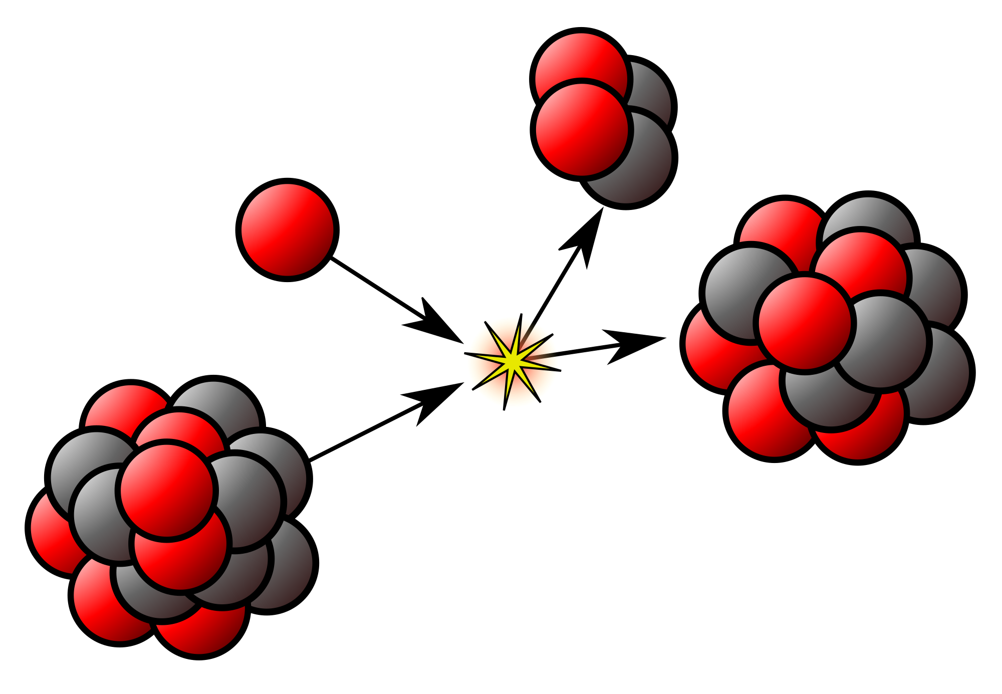 Energy clipart atom. Fission and fusion reaction