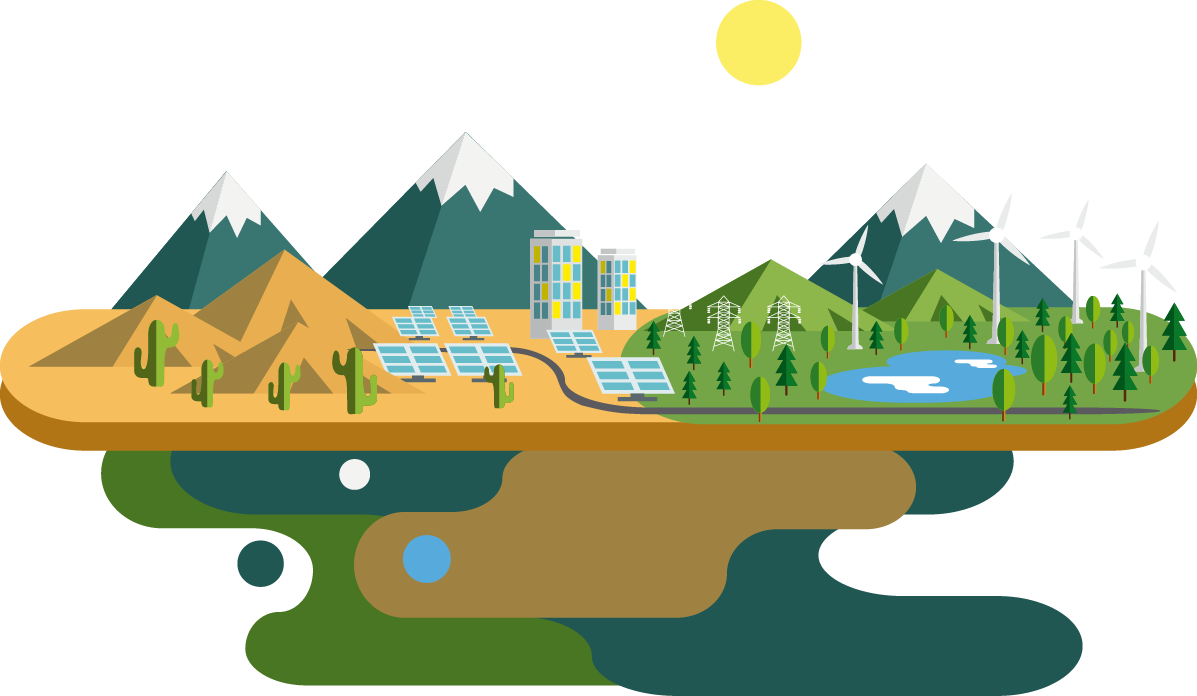 Ecology energy flat creative. Hills clipart mountain water