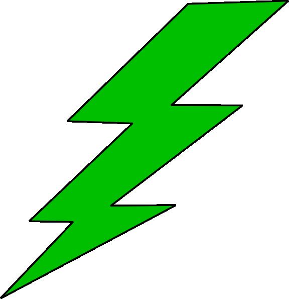 Green lighting bolt clip. Lightning clipart large