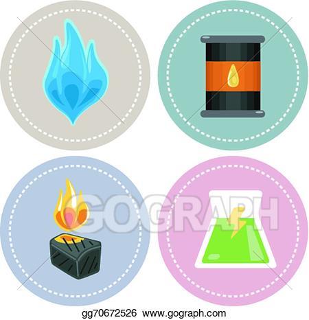 Vector stock icons . Energy clipart non renewable