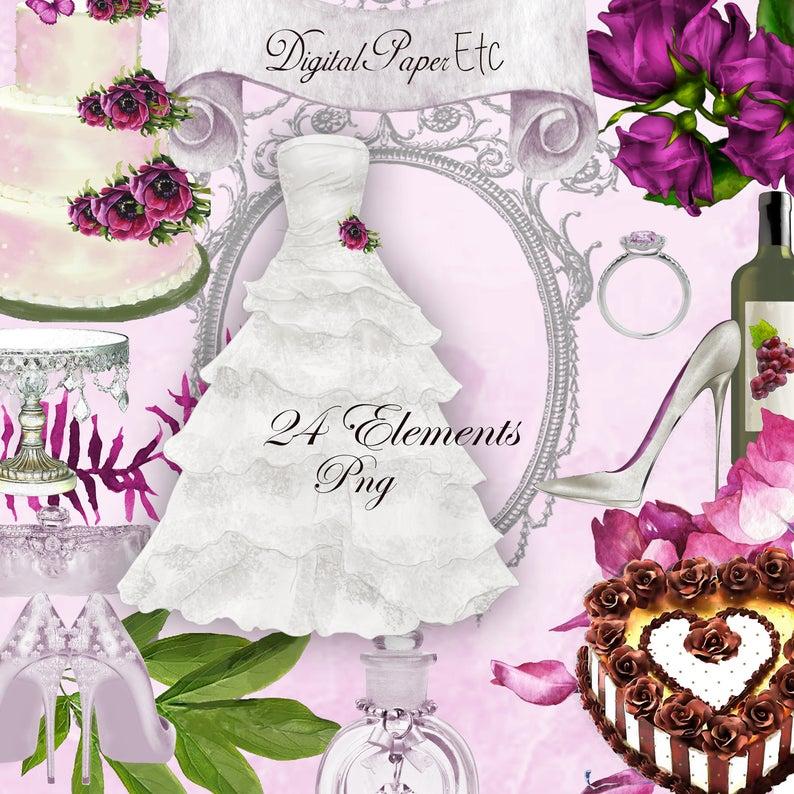 Digital scrapbook invitations commercial. Engagement clipart beautiful wedding