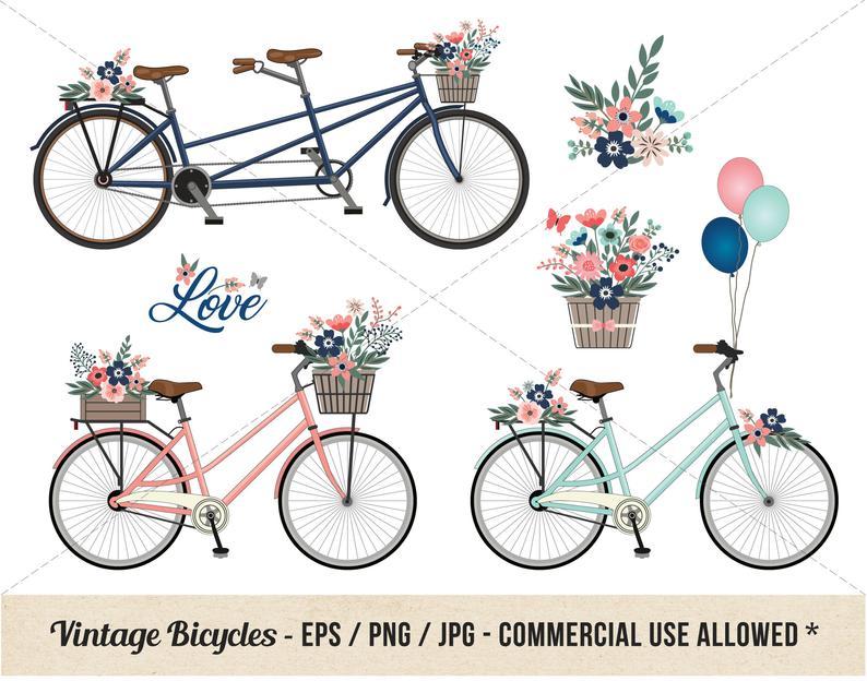 Vintage bicycle bike floral. Engagement clipart bikes