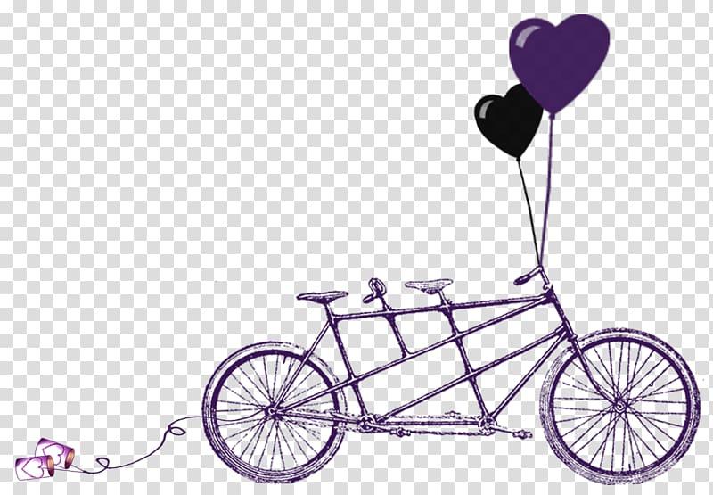 Wedding invitation tandem bicycle. Engagement clipart bikes