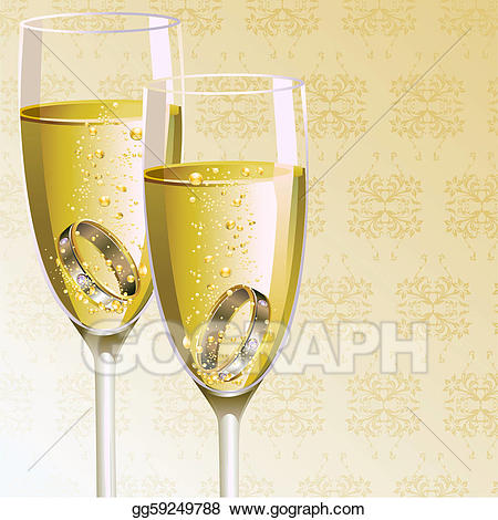 Engagement clipart champagne glass. Eps vector ring with
