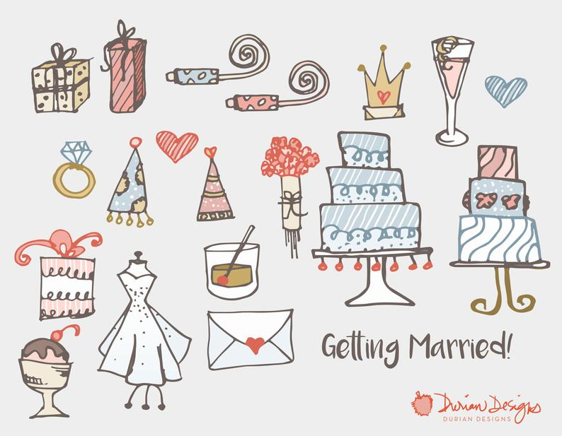 Engagement clipart cute. Wedding and commercial use