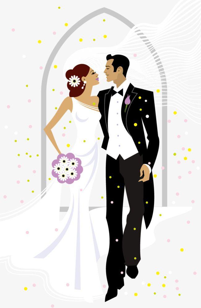Sweet bride and groom. Engagement clipart elegant bridal
