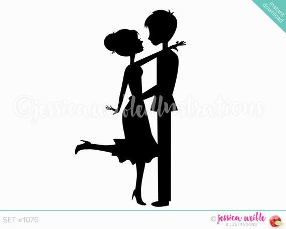 Engagement clipart engagement couple. Instant download cute silhouette