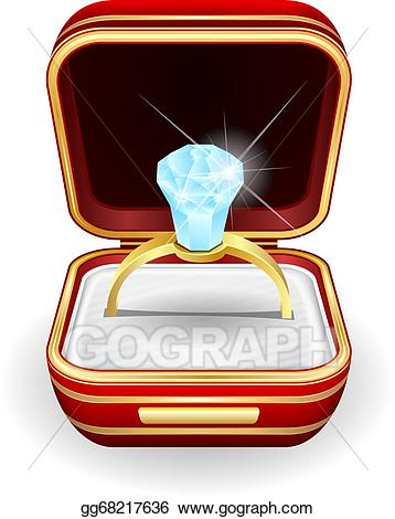 Vector art rings gift. Engagement clipart in box